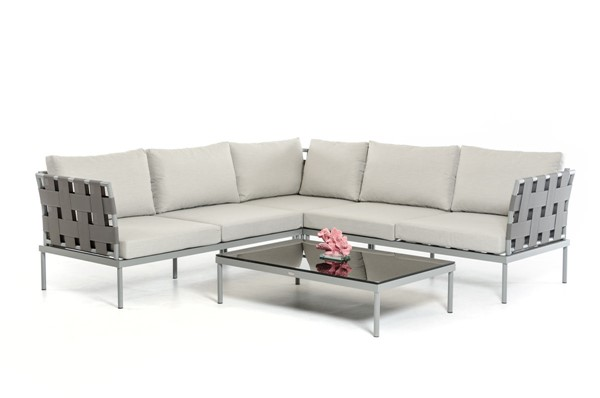 Home Roots Black Modern Outdoor Sectional Sofa Set OCN-283930