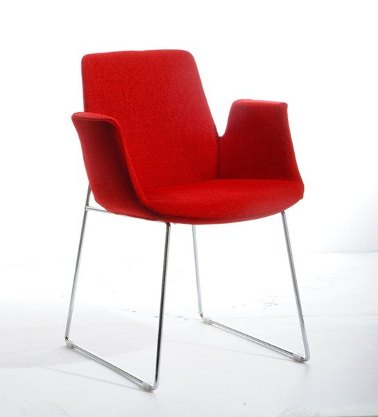 HomeRoots Red Fabric Modern Dining Chair OCN-283964