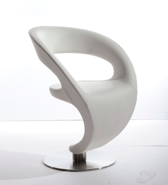 HomeRoots White Modern Leatherette Lounge Chair OCN-283978