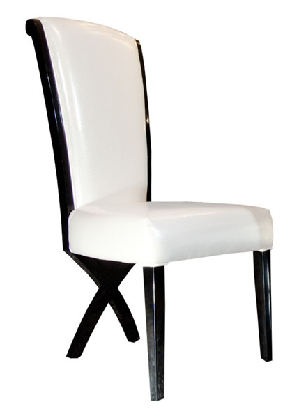 2 HomeRoots Black Transitional X Leg Dining Side Chairs OCN-284102