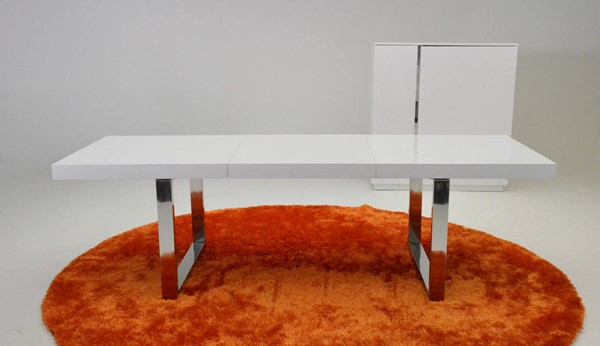 Homeroots White MDF Top Stainless Steel Legs Extendable Dining Table OCN-284109