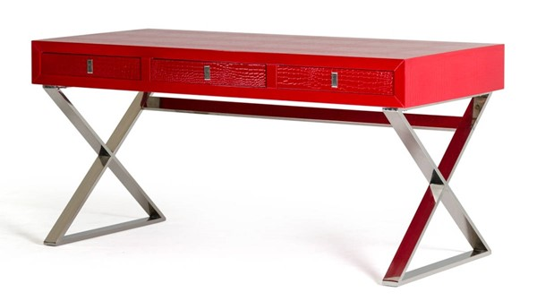 Homeroots Red Crocodile MDF Steel Legs Desk OCN-284137