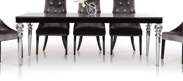 Homeroots Black Crocodile Lacquer Crystal Clear Legs Dining Table OCN-284180
