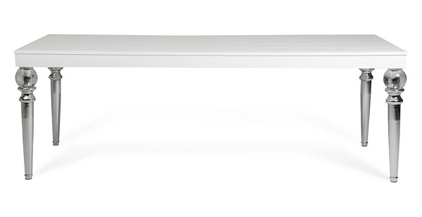 Homeroots White Crocodile Lacquer Crystal Clear Legs Dining Table OCN-284182