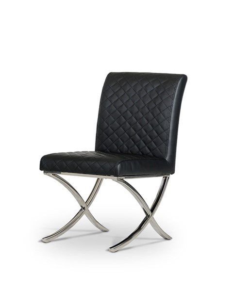 2 HomeRoots Black Leatherette Modern Dining Chairs OCN-284221