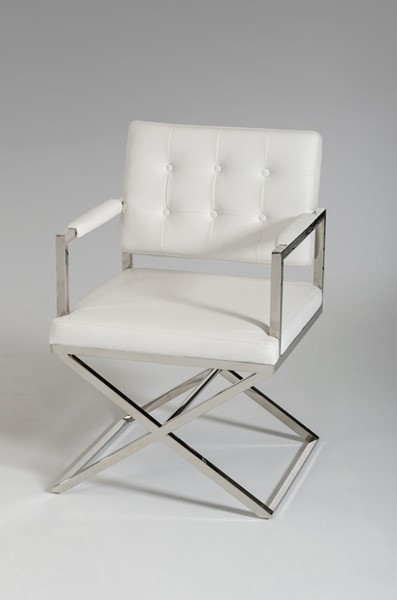 HomeRoots White Modern Leatherette Dining Chair OCN-284256