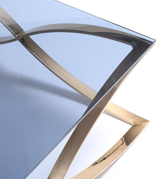 Homeroots Smoked Glass Top Rosegold Stainless Steel Coffee Table OCN-284293