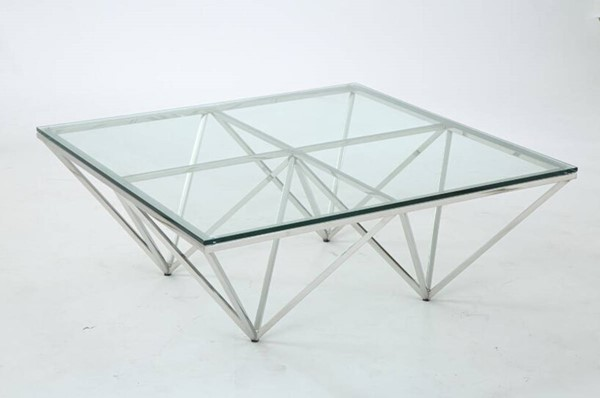 Homeroots Clear Glass Top Stainless Steel Coffee Table OCN-284295