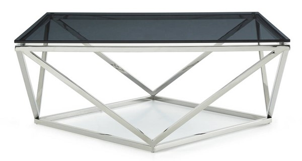 Homeroots Black Smoked Glass Stainless Steel Coffee Table OCN-284298