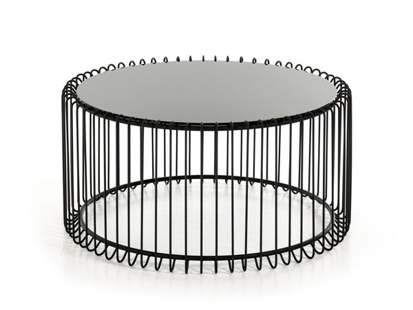 HomeRoots Black Contemporary Round Coffee Table OCN-284312