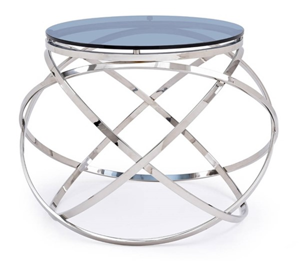 Homeroots Black Smoked Glass Top Stainless Steel End Table OCN-284320