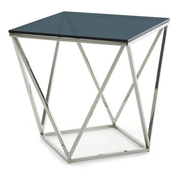 Homeroots Black Smoked Glass Stainless Steel End Table OCN-284324
