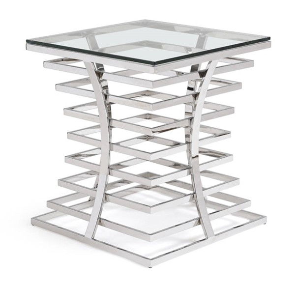 Homeroots Clear Glass Top Stainless Steel Square End Table OCN-284325