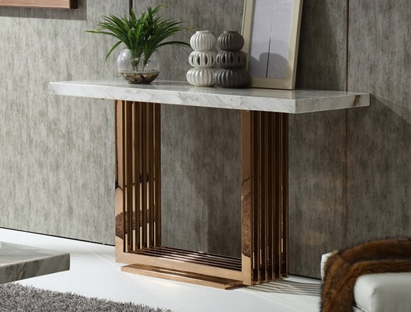 Homeroots Marble Top Rosegold Metal Console Table OCN-284352