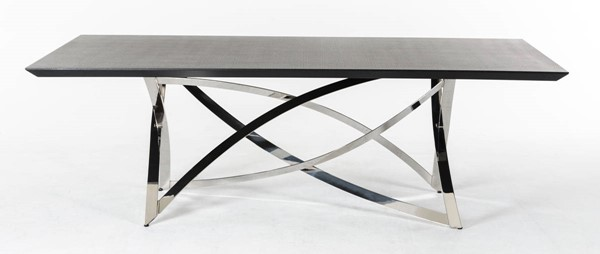 Homeroots Wenge Top Stainless Steel Dining Table OCN-284362