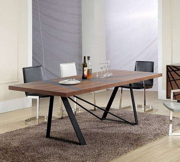 Homeroots Walnut Top Grey Stainless Steel Dining Table OCN-284372