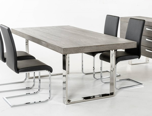 Homeroots Grey Top Stainless Steel Dining Table OCN-284375