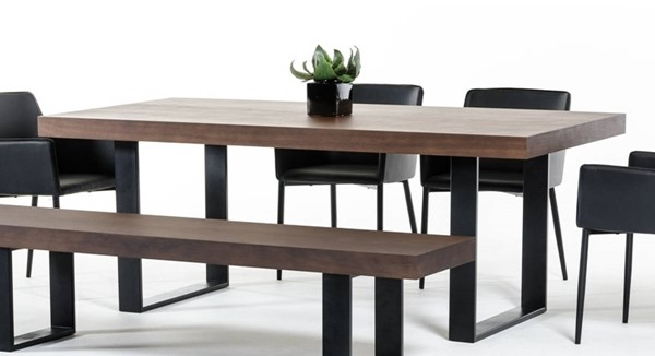 Homeroots Walnut Top Stainless Steel Dining Table OCN-284378
