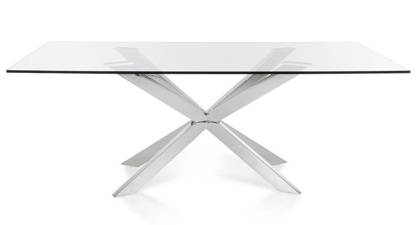 Homeroots Clear Glass Top Stainless Steel Legs Dining Table OCN-284386