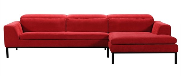 Homeroots Red Fabric Sectional OCN-284394
