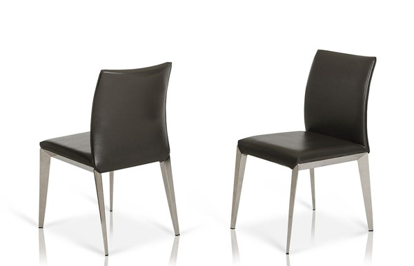 2 HomeRoots Dark Grey Eco Leather Dining Chairs OCN-284440