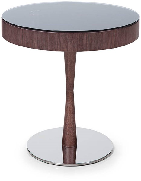 Homeroots Brown Oak Veneer Round End Table OCN-284464