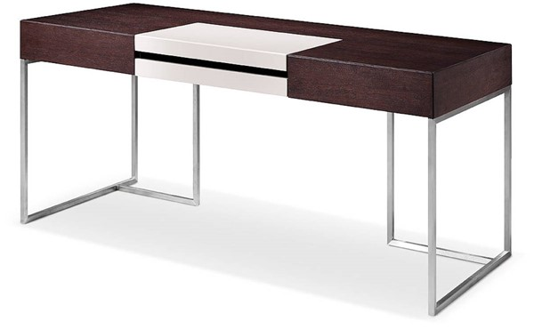 Homeroots Brown Oak Glass Top Stainless Steel Desk OCN-284474