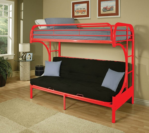 HomeRoots Eclipse Red Twin Over Full Futon Bunk Bed OCN-285190