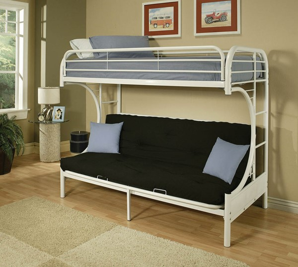 HomeRoots Eclipse White Twin Over Full Futon Bunk Bed OCN-285192