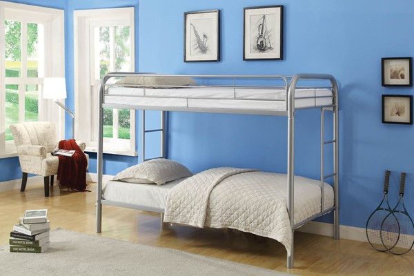 HomeRoots Thomas Silver Twin Over Twin Bunk Bed OCN-285201