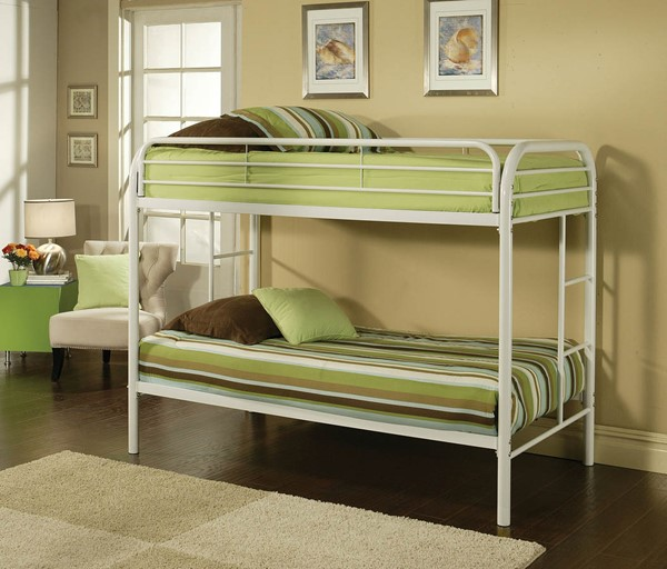 HomeRoots Thomas White Twin Over Twin Bunk Bed OCN-285202