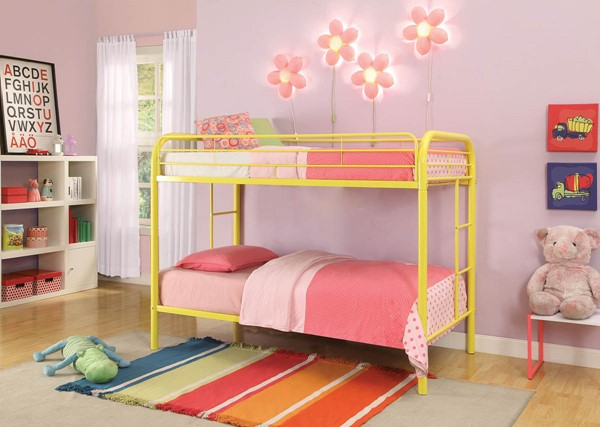 HomeRoots Thomas Yellow Twin Over Twin Bunk Bed OCN-285203