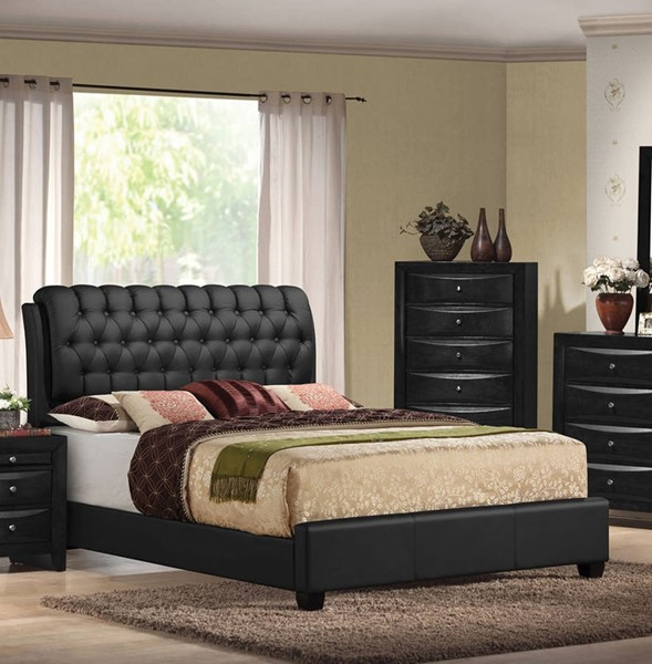 HomeRoots Black PU Button Tufted Queen Bed OCN-285218