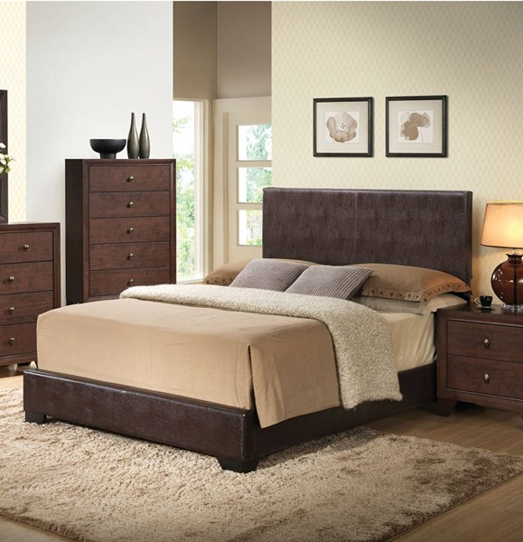 HomeRoots Ireland III Brown PU King Panel Bed OCN-285219