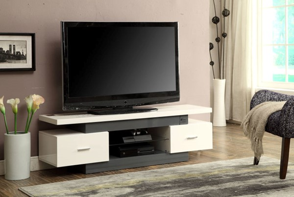 HomeRoots Vicente White Glass TV Stand OCN-285406