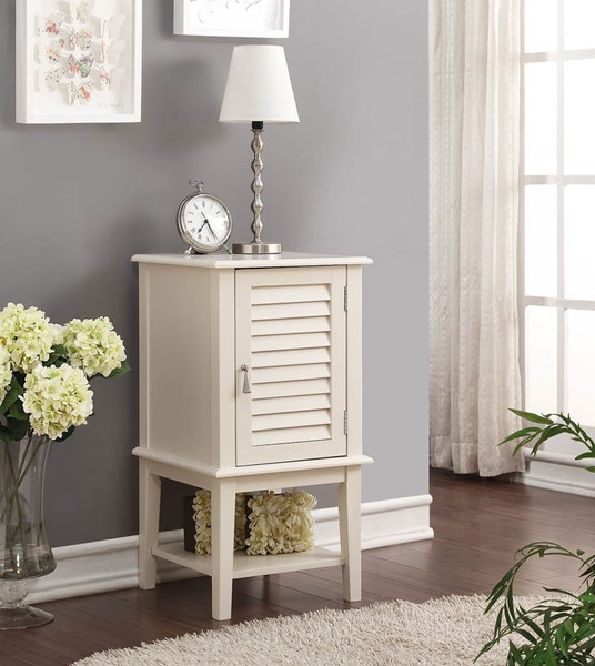Home Roots Hilda White Solid Wood Side Table OCN-285477