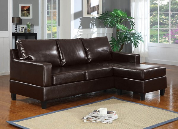 Ocean Tailer Vogue Espresso Bonded Leather Sectional Sofa OCN-285530