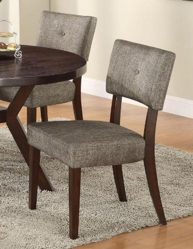 2 Homeroots Gray Fabric Espresso Solid Wood Side Chairs OCN-285531