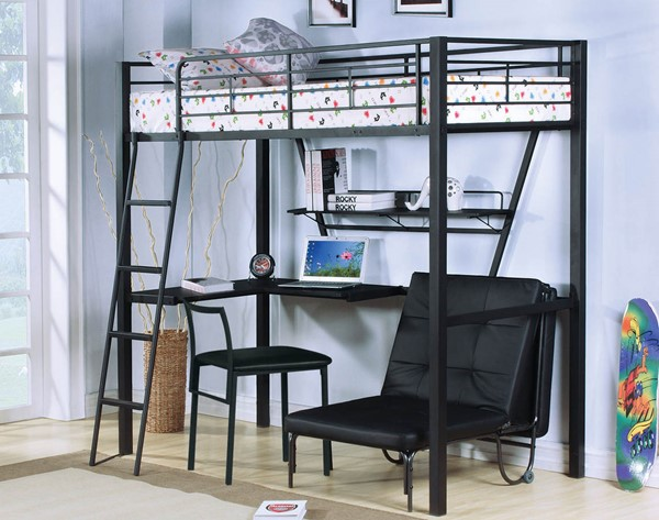 HomeRoots Senon Black Loft Bed with Desk and Futon Chair OCN-285607-08