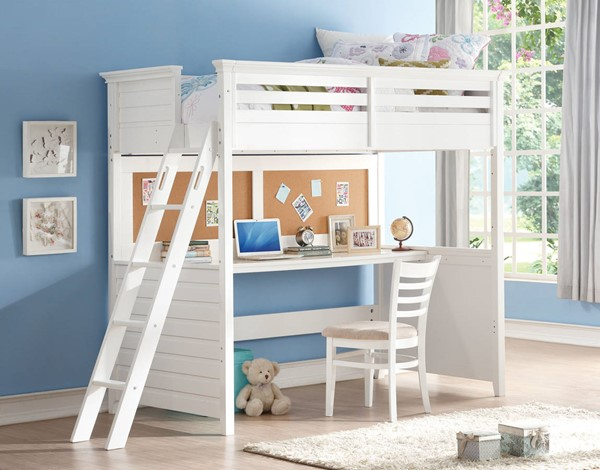 HomeRoots White Poplar Wood Twin Loft Bed with Desk OCN-285631