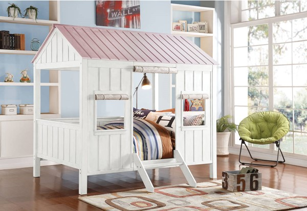 HomeRoots White Pink Cottage Full Bed OCN-285632