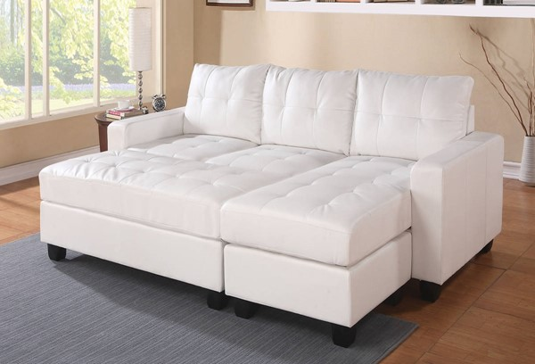 Homeroots White Bonded Leather Reversible Chaise Sectional with Ottoman OCN-285641