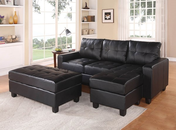 HomeRoots Lyssa Black Sectional with Ottoman OCN-285642