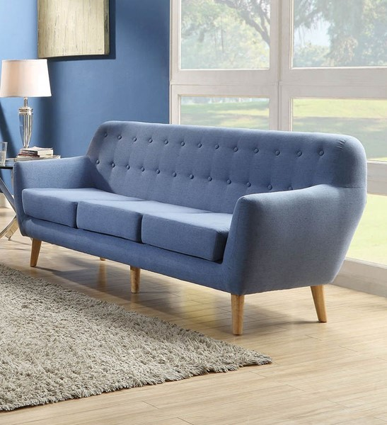 Ocean Tailer Ngaio Blue Fabric Tufted Back Sofa OCN-285658