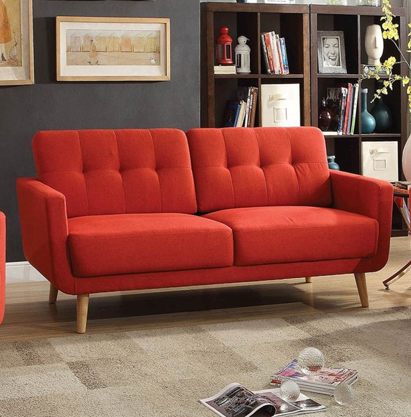 HomeRoots Sisilla Red Fabric Sofa OCN-285661