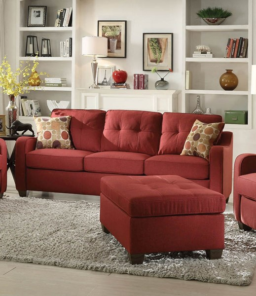 HomeRoots Cleavon II Red Fabric Sofa with 2 Pillows OCN-285664