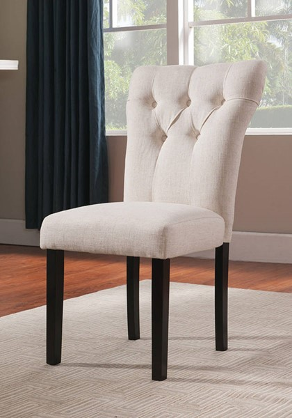 Homeroots Beige Linen Walnut Wood Side Chairs OCN-285724-DR-CH-VAR