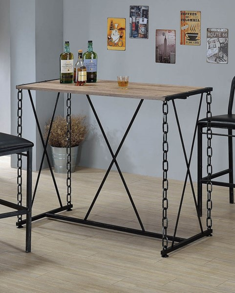 HomeRoots Jodie Rustic Oak Antique Black Bar Table OCN-285734