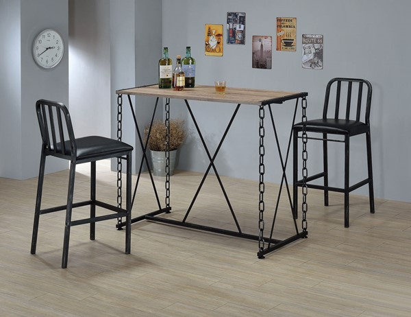 Home Roots Rustic Oak Antique Black Dining Sets OCN-285736