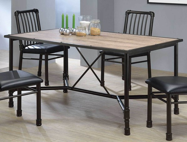 Home Roots Caitlin Rustic Oak Black Dining Table OCN-285740
